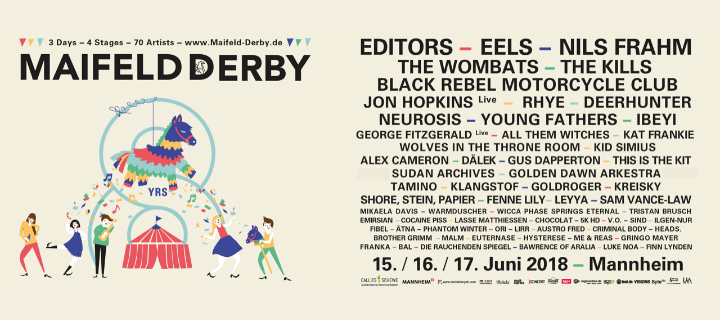 Dritte Bandwelle bestätigt Editors, Nils Frahm, The Wombats, Kid Simius uvm. fürs 8. Maifeld Derby